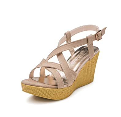 MYI Womens Wedges Sommer Neue High Heels Sandalen mit Schnalle Rom Anti-Rutsch-Straps Freizeit Tide Schwarz/Grau