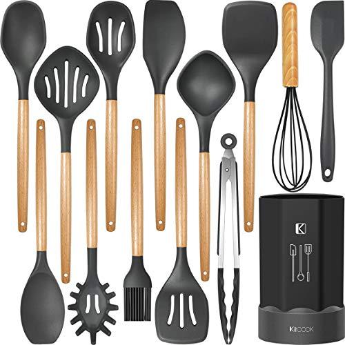 Silicone Cooking Utensils Kitchen Utensil Set, Heat Resistant,Kitchen Utensils Spatula Set with Holder.Wooden Handle…