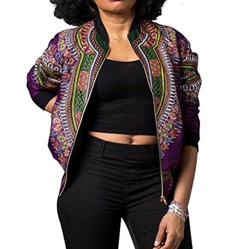 DAYLIN Chaquetas Mujer Otoño Casual Africano Impresión Abrigo de Manga Larga Morado