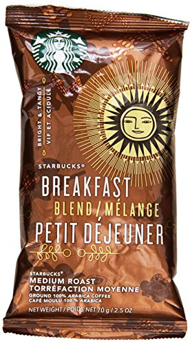 Starbucks SBK11018193 Breakfast Blend Single-Pot Portions Coffee Packets, Premium Ground, Medium-Roasted (Pack of 18) Single Portion Packets