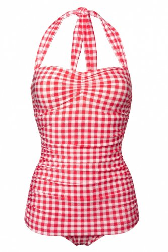 (Esther Williams Women's 50s Pin Up One Piece Swimsuit (8, Red Gingham))