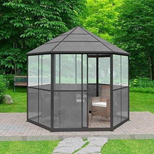 vidaXL Cenador Jardín Aluminio Hexagonal Gris Marquesina Toldo Pérgola Techo: Amazon.es: Hogar