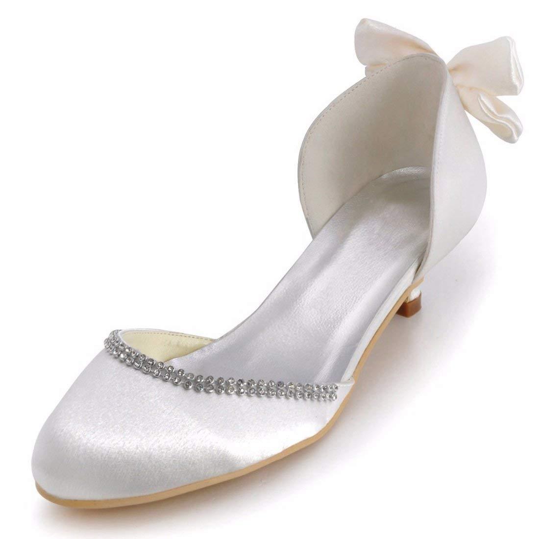 ZHRUI Damen Bowknot 2 Heel Heel Heel Satin D-Orsay Braut Hochzeit Outdoor-Schuhe (Farbe   Weiß-5cm Heel, Größe   7 UK) fda050