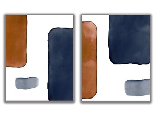 Amazon Com Abstract Navy Blue White Rust Blocks Wall Art Set Of 2 11x14 Unframed Prints Minimalist Modern Decor Neutral Shades Dark Indigo Burnt Orange And Handmade