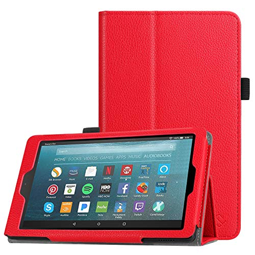 Fintie Folio Case for All-New Amazon Fire 7 Tablet (9th Generation, 2019 Release) - Slim Fit PU Leather Standing Protective Cover with Auto Wake/Sleep, Red