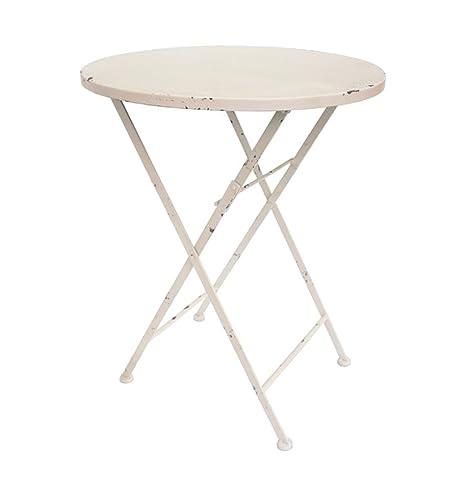 Table de jardin ronde en fer au look vintage \