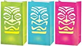 Amscan 172500 Sun-Sational Summer Luau Party Totem LED Luminaries Decoration (6 Pack), 12.4 X 6.3, 11'' H x 6'' W x 3 3/4'' D, Multi Color