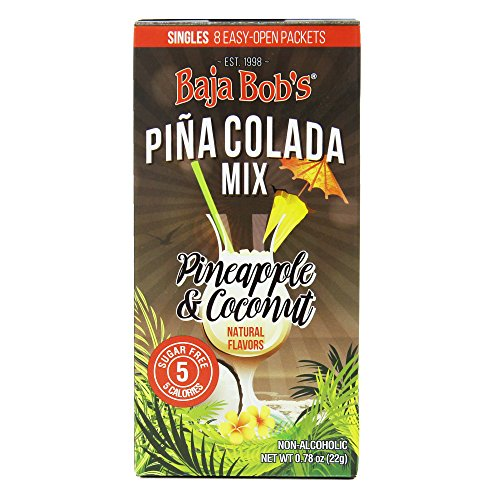 Baja Bob's Pina Colada Mix Singles (8 Single-Serve Packets Per Box) | Zero Sugar, Low Calorie, Low Carb, Keto Friendly, Skinny Cocktail Mixer | Great For Travel, Dining Out, and Cruises