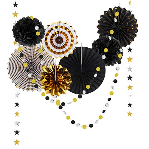 Black and Gold Hanging Paper Fan Decorations,Paper Garland and Fans Birthday Decorations, Retirement Wedding Anniversary Graduation Party Fathers Day Halloween Party Favors Round Events Accessories ... -