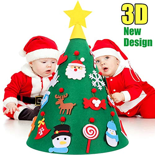 YEAHBEER 3D DIY Felt Christmas Tree for Kids - 18PCS Xmas Detachable Hanging Ornaments - Upgraded Toddler Christmas Tree Xmas Gifts New Year Decorations