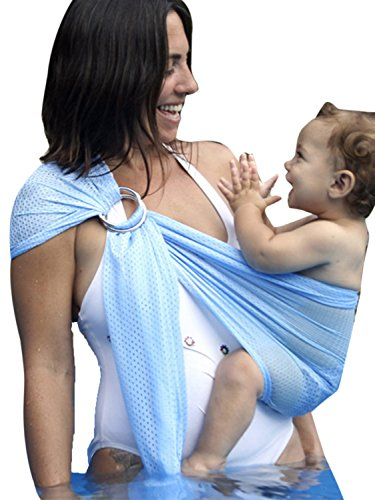 Ring Sling Baby Wrap Carrier for Newborn and Toddler, Lightweight Breathable Mesh Baby Wrap, Summer Swimming Pool Beach ()
