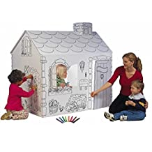 Cottage Playhouse with Washable Markers- Material: Cardboard-Theme: Cottage-Outdoor Use: No- Material: Cardboard- Eco-Friendly: Yes- 3.75 Square foot floor for multiple children-(Pack of Two)*