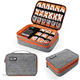Electronics Organizer, Jelly Comb Electronic Accessories Cable Organizer Bag Double Layer Travel Cable Storage Bag for Cables, Laptop Charger, Tablet (Up to 11'')and More-Thick Large(Orange and Gray)