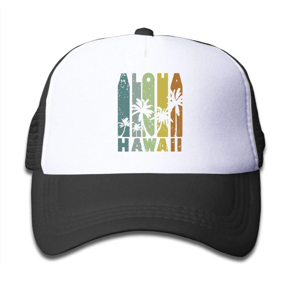 NO4LRM Kid's Boys Girls Hawaii Aloha Youth Mesh Baseball Cap Summer Adjustable Trucker Hat