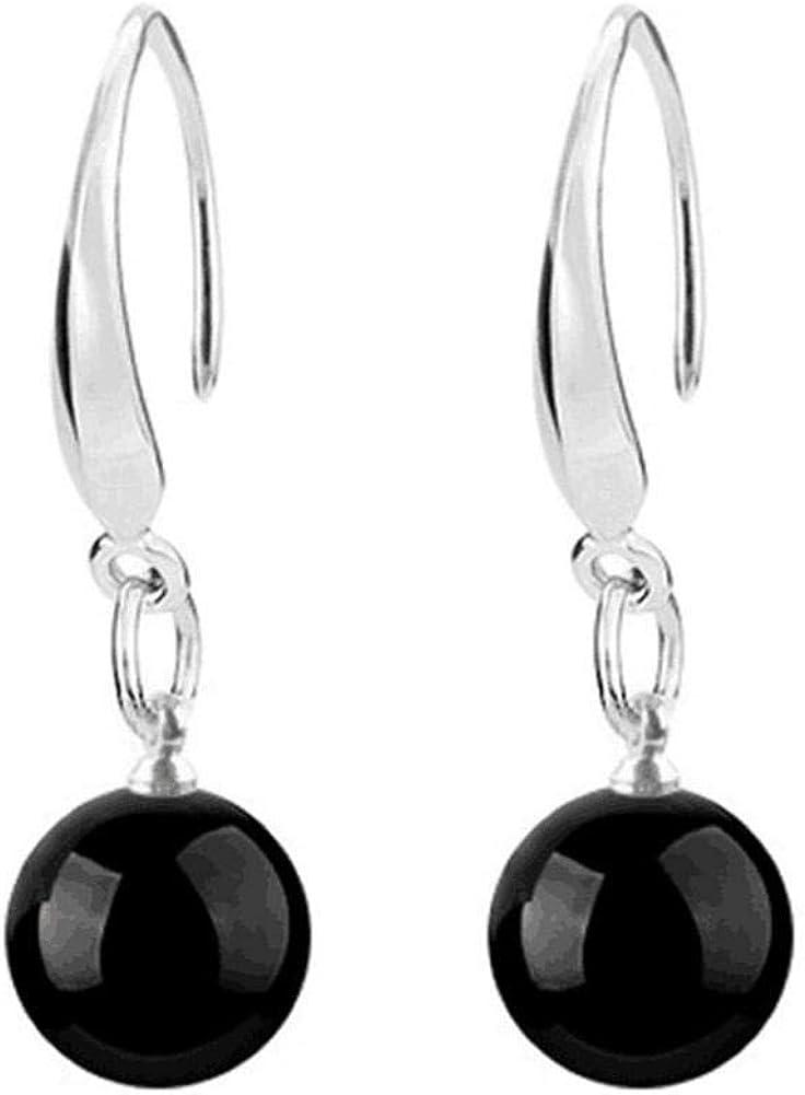 Nikgic Pendientes de plata esterlina para mujer de moda Pendientes simples de ónix negro Señoras accesorios diarios y para citas