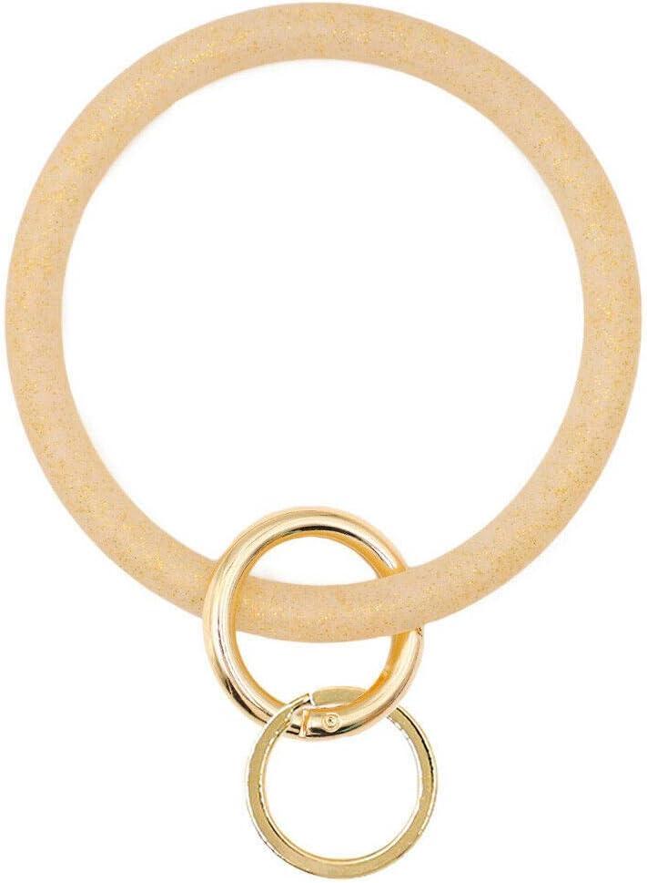 hitonsmusu Silicone Keyring Bracelet Bangle Outdoor Sports Swimming Wristlet Keychain Big Circle Key Ring for Women