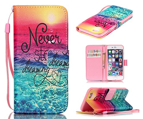 iPhone 6S Plus Case, iPhone 6 Plus Case, Welity Never Stop Dreaming Quotes Saying Seaside [ Wristlet ][ Kickstand ] PU Leather Wallet [Credit Card/Cash Slots] Flip Cover for iPhone 6/6S Plus