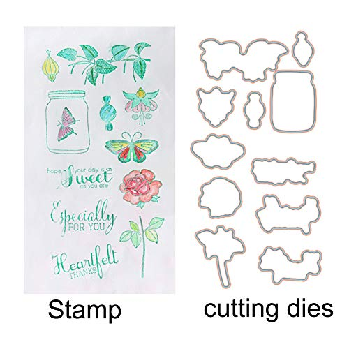 WYSE Stamp and Cutting Dies Set Butterfly Flower for Scrapbooking Card Making (vase) -