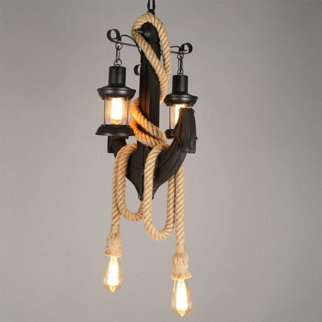 YANGQING Lámpara de luz de cáñamo antiguo, lámpara colgante de caballos, lámpara de 2 cabezas, diseño de ancla industrial, candelabro para comida, estilo vintage, lámpara de mesa con bombilla E27