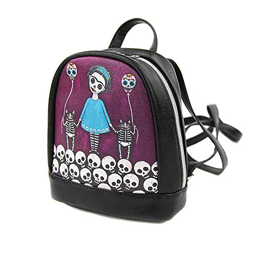 Skeleton Day of the Dead Girl & Cats Mini Fashion Backpack ()