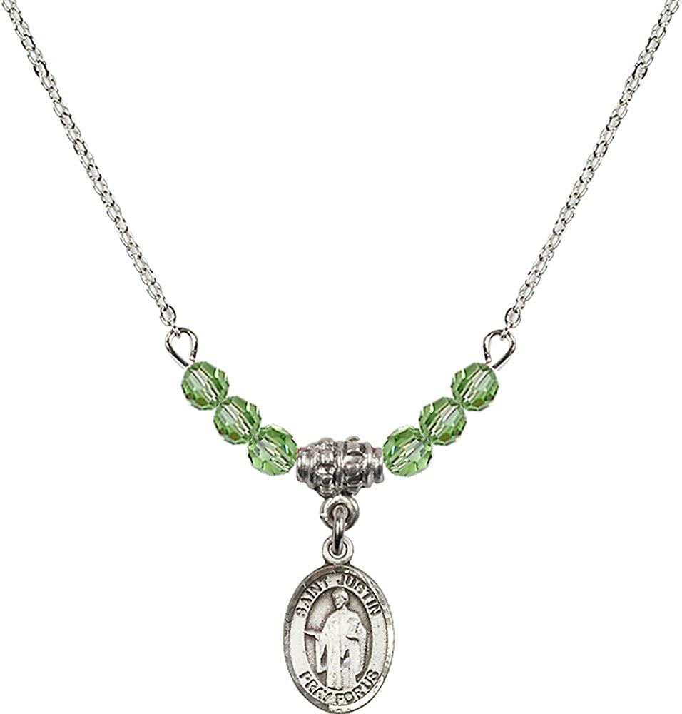 18-Inch Rhodium Plated Necklace with 4mm Peridot Birthstone Beads and Sterling Silver Saint Justin Charm.