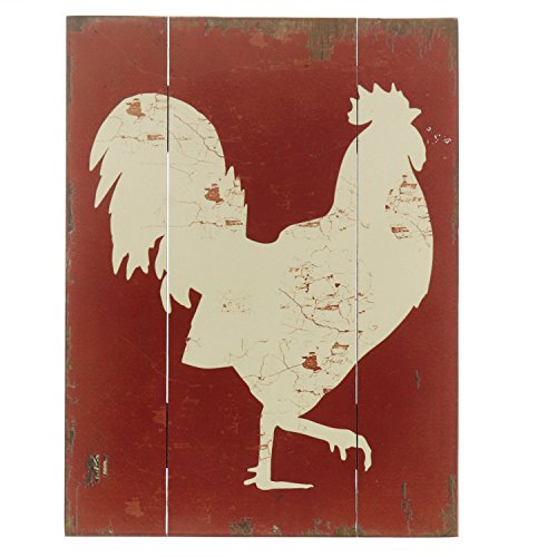(Barnyard Designs White Rooster Cockerel Retro Vintage Wood Plaque Bar Sign Country Home Decor 15.75