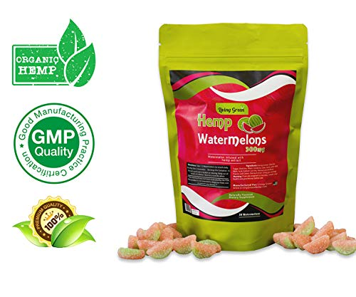 (Hemp Watermelon Gummies 300mg- 20mg per Serving- 30 ct- Organic Hemp Extract - Relaxing, Pain Relief, Stress & Anxiety Relief - Sleep Better by Living Green (WaterMelon's))