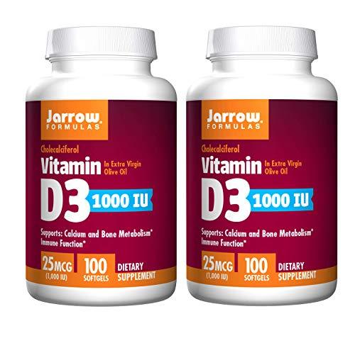Jarrow Formulas Cholecalciferol Vitamin D3 1000 IU in Extra Virgin Olive Oil for Calcium, Bone Metabolism and Immune Function 25 Micrograms (100 Softgels) Pack of 2