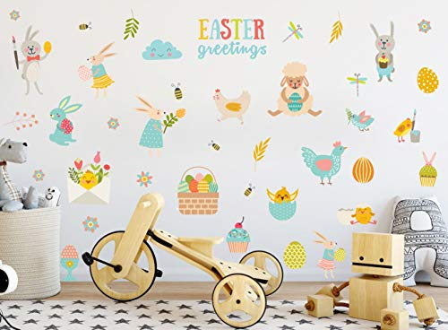 IARTTOP Easter Greetings Wall Decal Adorable Easter Bunny Eggs Sheep Chick Wall Sticker for Kids Room Decoration Fairy Garden Wall Decals for Easter Decoration ()