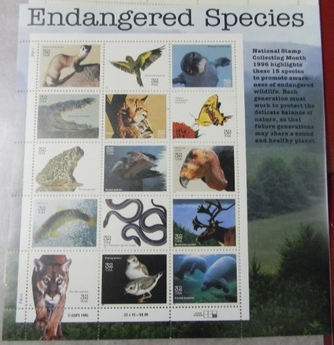 Endangered Species Collectible Sheet of Fifteen 32 Cent - Sunglasses Ocelot