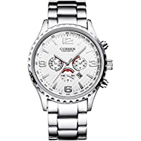 Men's Watch Casual Nice Fashion Popular Style Japan Quartz Movement Wrist Watches Analog with Elegant Silver Metal Band White Dial Calendar Date Window