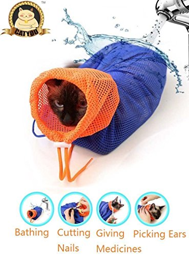 CatYou Cat Grooming Bag Puppy Dog Cleaning Polyester Soft Mesh Scratch & Biting Resisted for Bathing Injecting Examining Nail Trimming
