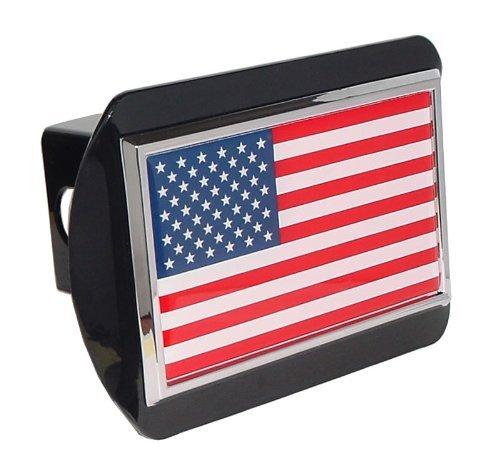 American United States USA Flag Black Metal Trailer Hitch Cover Fits 2 Inch Car Truck Receiver (Label Stripes Big Address)
