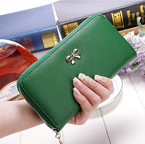 Damen Bifold Bowknot Geldbörse Reißverschluss Portemonnaie Lange Geldbeutel Brieftasche Rose Grass Grün