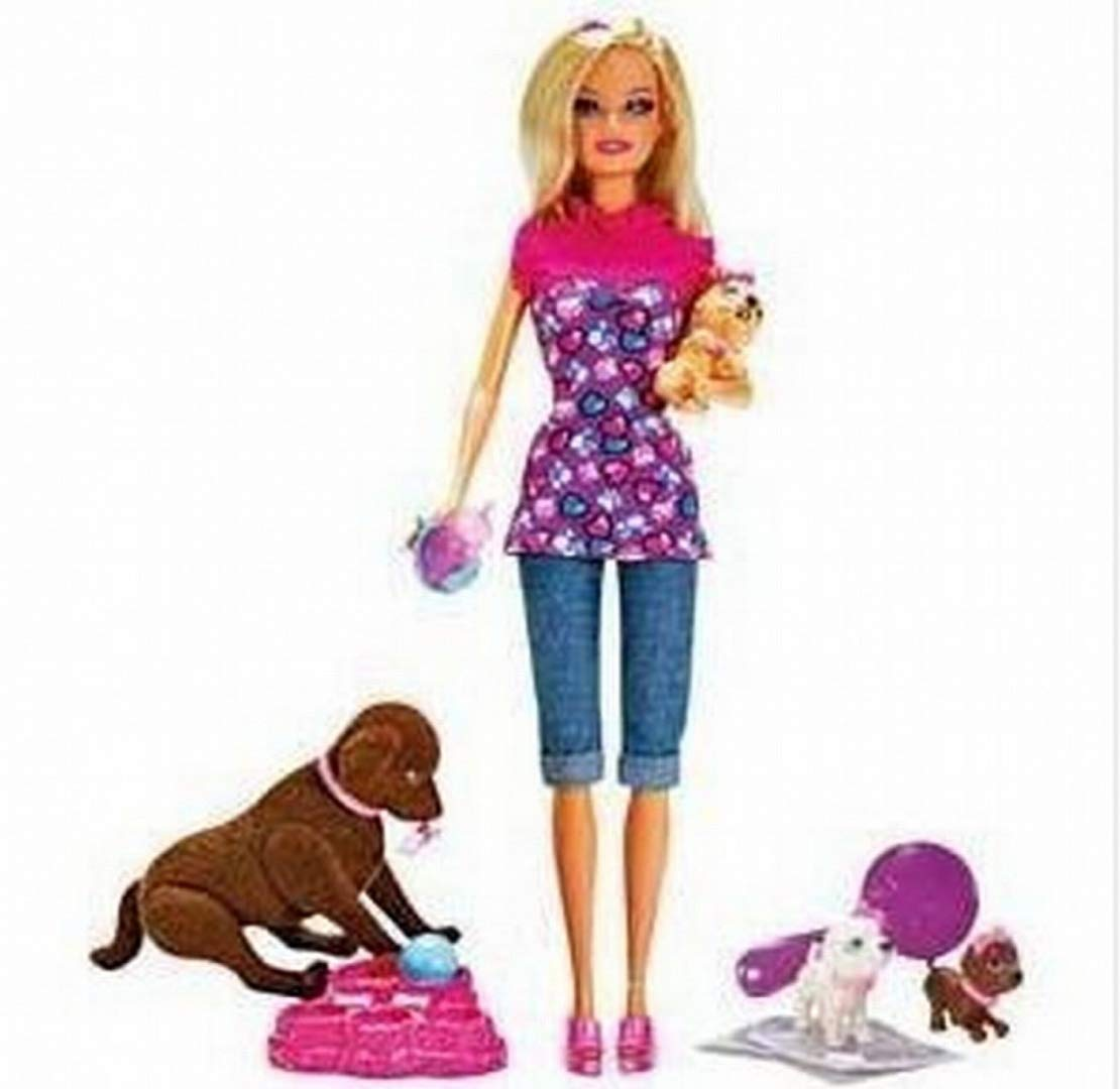New Girls Gift Barbie Brown Taffy Dog and 3 Puppies Playset Accessories Girl Doll Toy NEW   B00JST3NLW