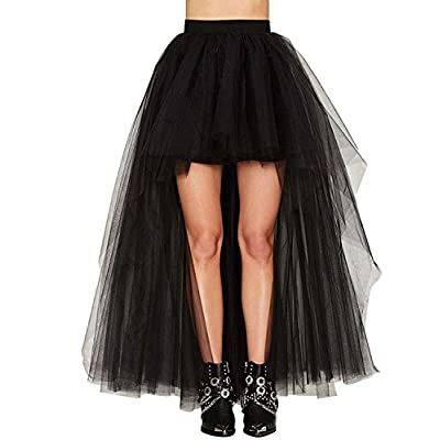 ASMAX HaoDuoYi Women Mesh Tulle High Low High Waist Tutu Princess Wedding Skirt at Women's Clothing store