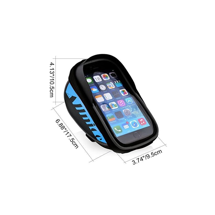 Allnice Bike Bag, Waterproof Touch Screen Bike Handlebar Bag Mountain Road MTB Bicycle Front Phone Frame Bag Holder iPhone 7 Plus 6s 6 Plus/Samsung Galaxy Note 2 Cellphone Below 5.5Inch (Red)
