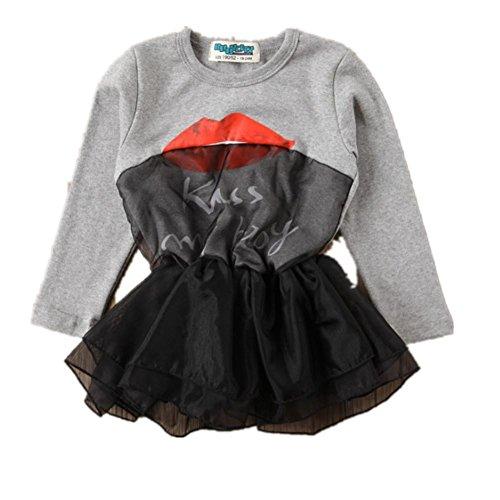 Starkma Baby Girls Infants Kids Lip letter Gauze Dress Tutu Dress B46 Gary M