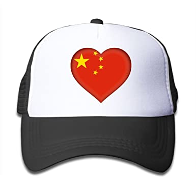 ffeb8d78321 Amazon.com  Asia China Flag Heart Mesh Caps Adjustable Plain Trucker ...