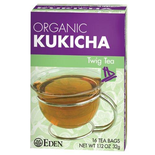 Eden Twig Tea, Tea Bags, Kukicha, Eden Organic 1.12-Ounce Boxes (Pack of 12) ()