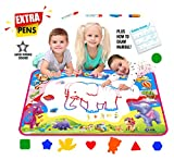 """Picasso Kid Aqua Magic Doodle Mat Extra Large XL Aquadoodle 5 Color Water Painting Drawing Kit Travel Accessories 34'' x 22.5"""" Pens Stencils Brush Tools for Boys Girls Toddlers"""