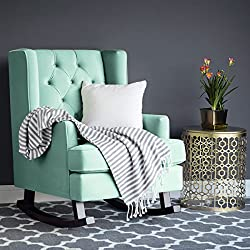 Best Choice Products Tufted Luxury Velvet Wingback Rocking Accent Chair, Living Room, Bedroom w/Wood Frame - Mint Green