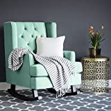 Best Choice Products Tufted Luxury Velvet Wingback Rocking Accent Chair, Living Room, Bedroom w/Wood Frame – Mint Green For Sale