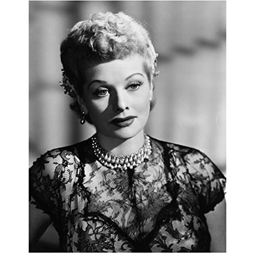 photo I Love Lucy The Lucy Show Here's Lucy B&W Pic Very Romantic Look Lace Dress w/Cap Sleeves kn ()