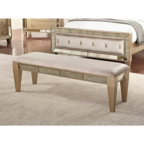 Abbyson Chateau Gold Wood Mirrored Bench