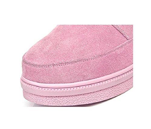 della piatto Casual rotonda 36 caldo in scarpe velluto PINK spessa pelle pink e donna neve 39 Boot alto Testa imbottito stivali cintura e fibbia YEq8Wfx