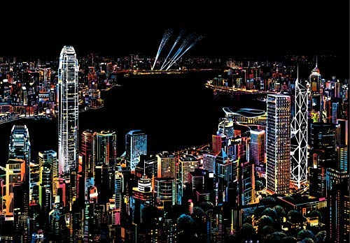 Redcat Magic Scratch Art Paper Colorful City Famous Spots Night View for Adult and Kids,Four Series Size 11.2''x16'' (Hong Kong) (Best Things To Do In Hong Kong)