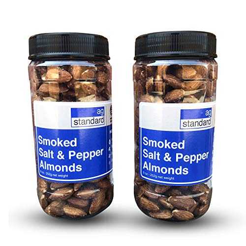 Roasted Almonds – Dry Natural Salted Almonds – Smoked Roasted Nuts with Black Pepper – Vegan & Oil-Free Deluxe Mixed Whole Nuts with Black Pepper – Pack of 2 Premium 9oz Jars by AgStandard