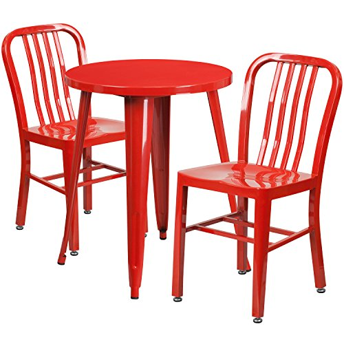 24' Round Cafe Table - Flash Furniture 24'' Round Red Metal Indoor-Outdoor Table Set with 2 Vertical Slat Back Chairs