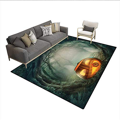 Carpet,Drawing of Scary Halloween Pumpkin Enchanted Forest Mystic